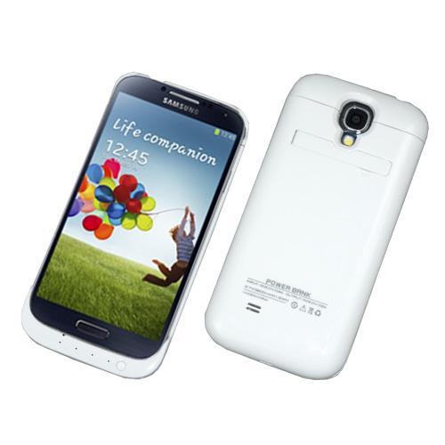Power-Schale-Bank-Extern-zusatz-Akku-f-Samsung-i9500-Galaxy-S4-3200-mAh-Weiss